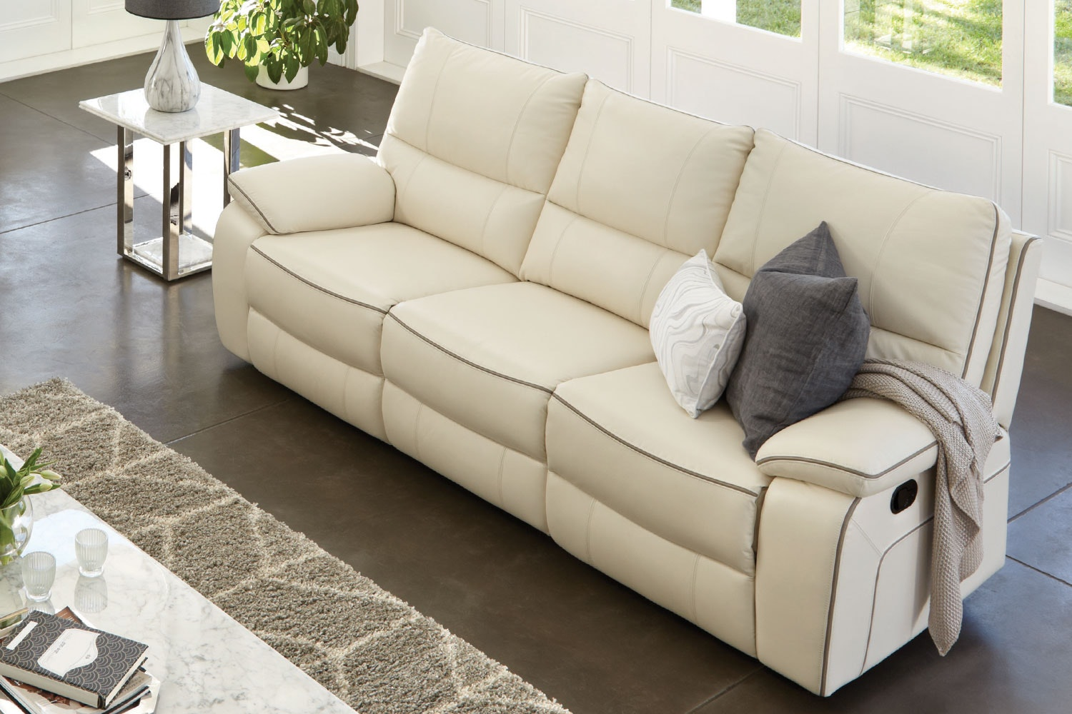 Strata 3 Seater Leather Recliner Sofa by Synargy