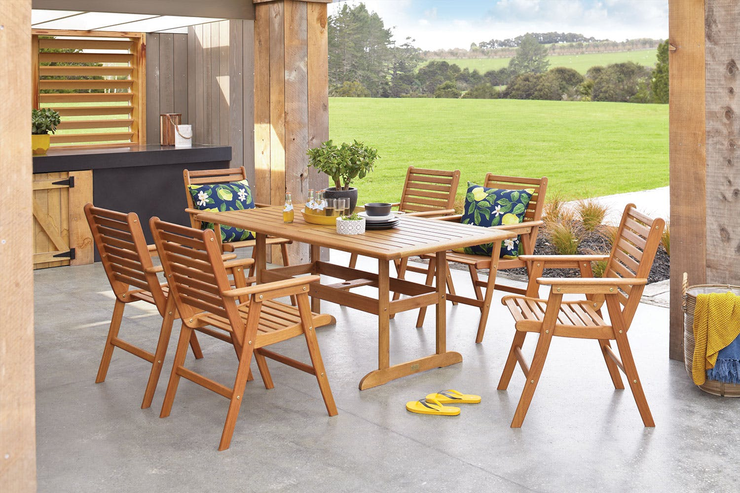Bali 7 piece outdoor dining setting harvey norman new zealand