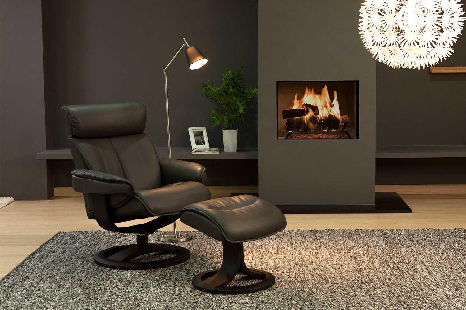 Bergen Leather Recliner Chair and Footstool - Standard - Trend - IMG