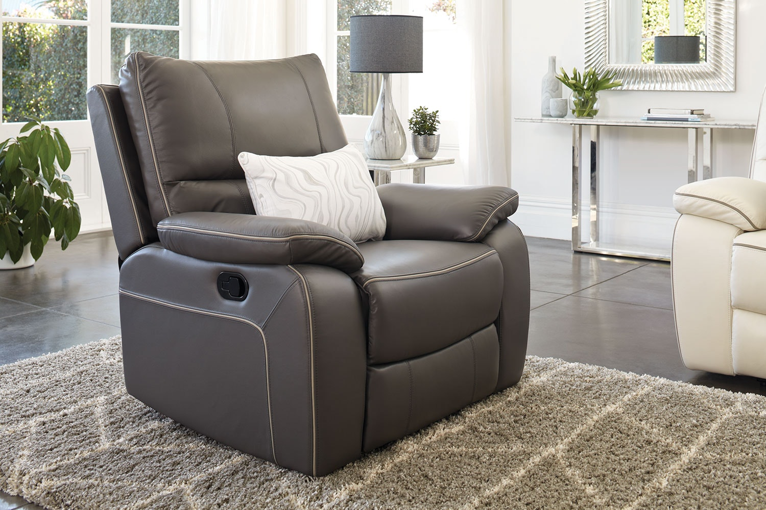 Strata Leather Recliner Chair by Synargy - Graphite