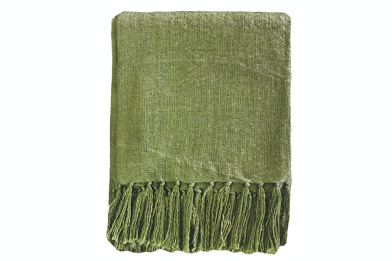 Rhapsody Acrylic Throw by Mulberi - Moss Green
