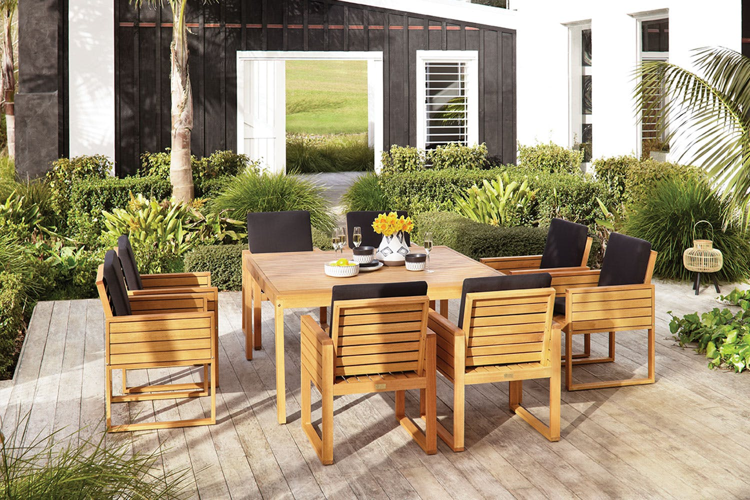 Vanuatu 9 piece outdoor dining setting harvey norman new zealand