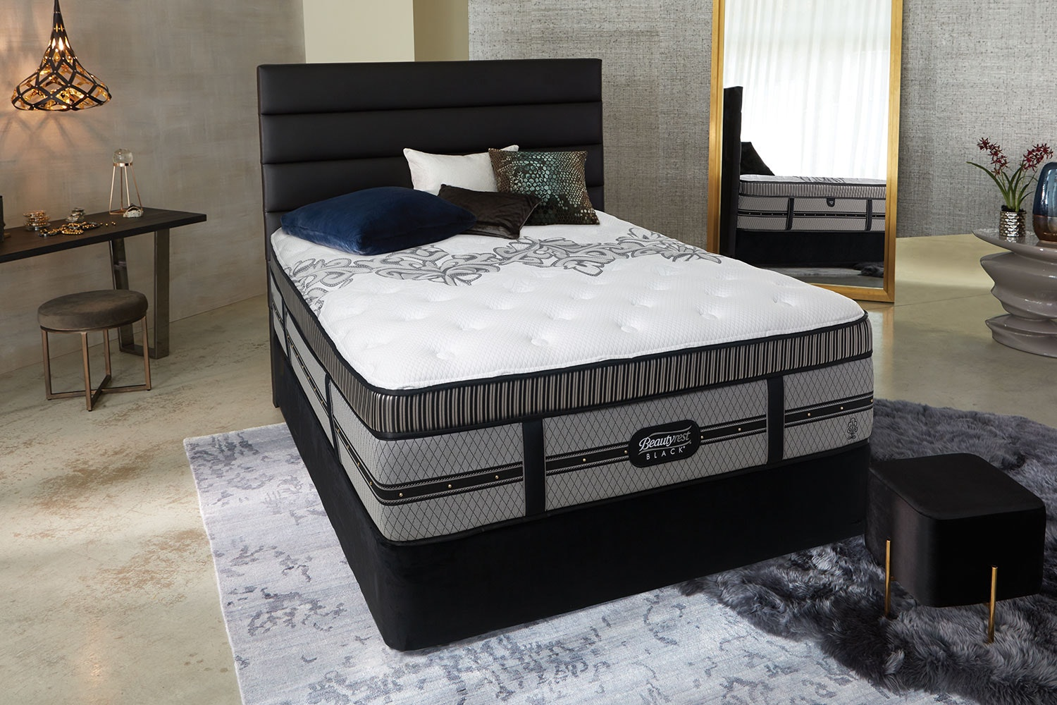 Empire Plush Queen Bed by Beautyrest Black