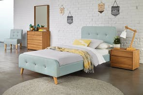 Blue Calypso King Single Bed Frame by Nero Furniture