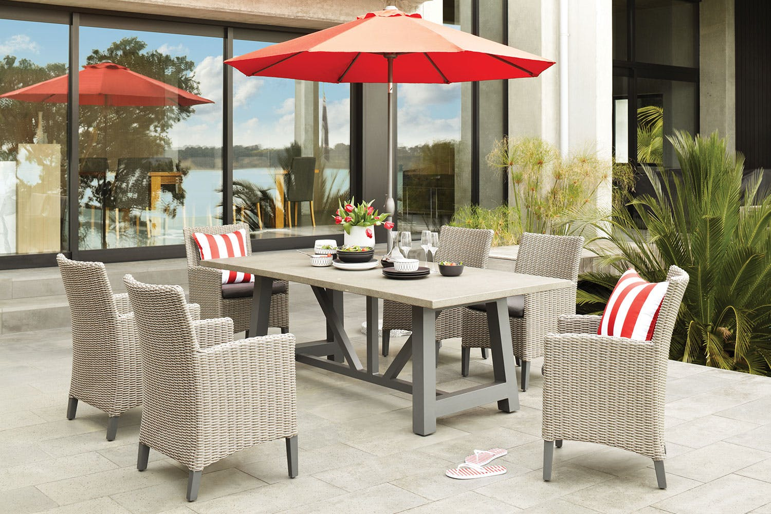 Suva 7 piece outdoor dining setting harvey norman new zealand