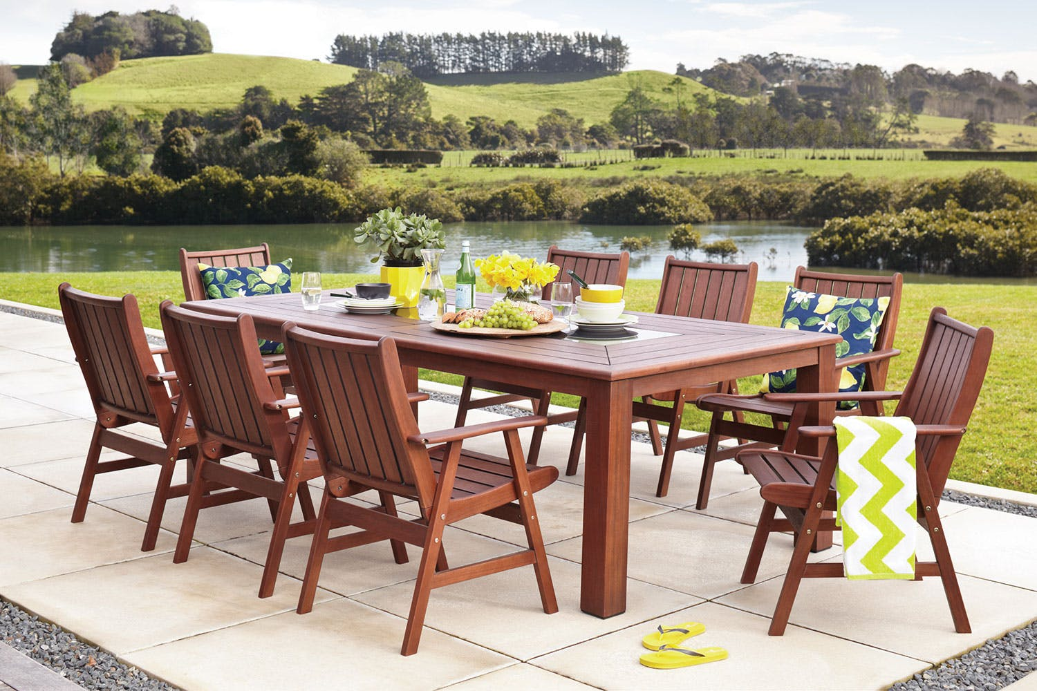 Santiago 9 piece outdoor dining setting harvey norman new zealand