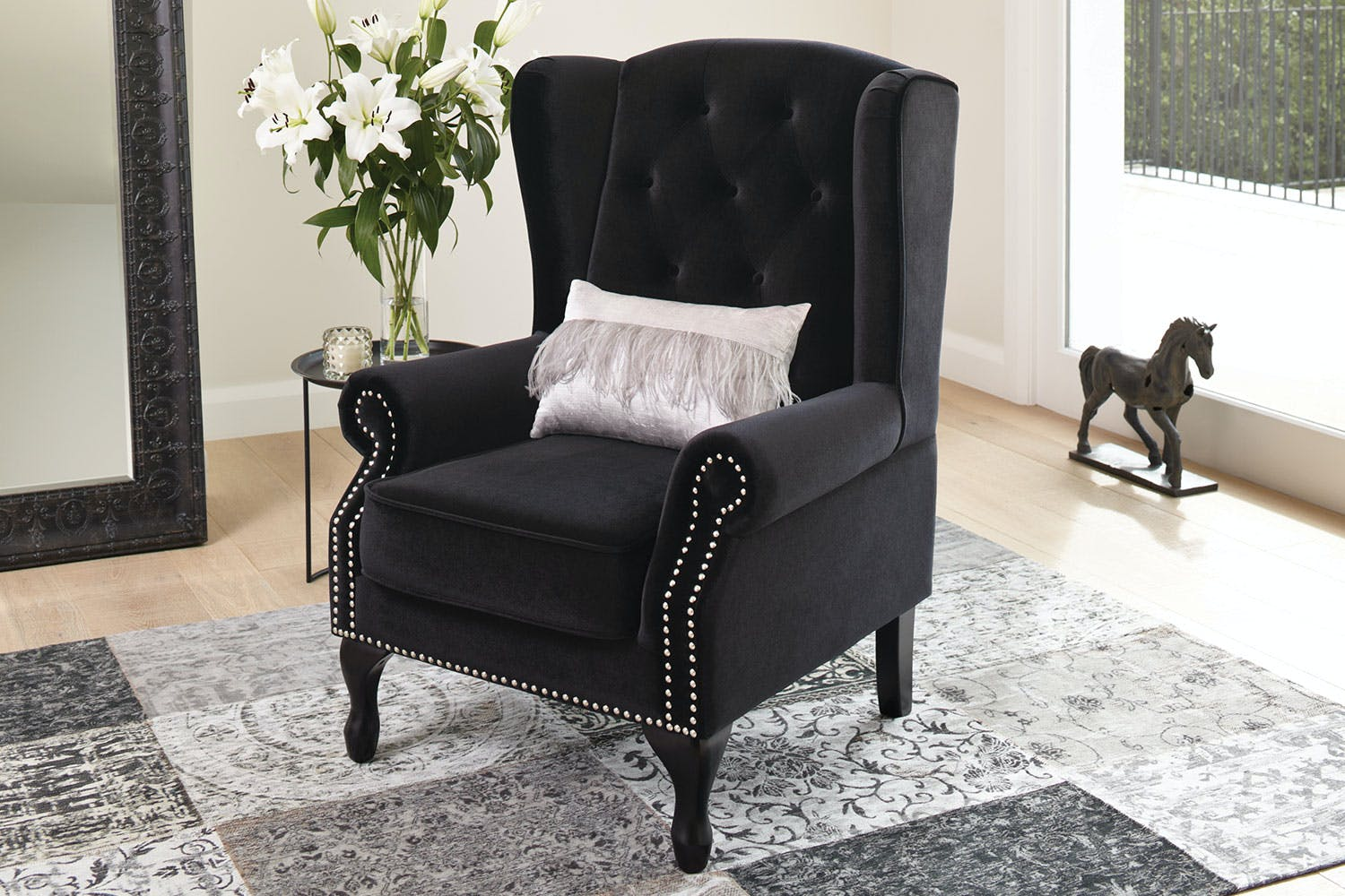 Marchello Wing Armchair Black Lifestyle