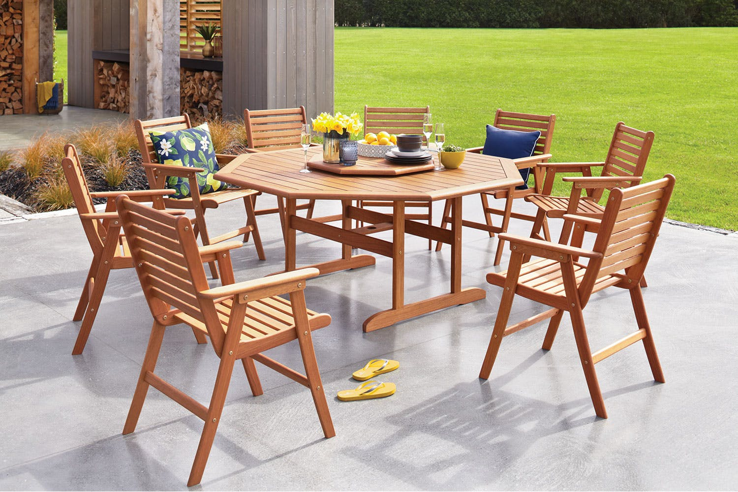 Bali 9 piece outdoor dining setting