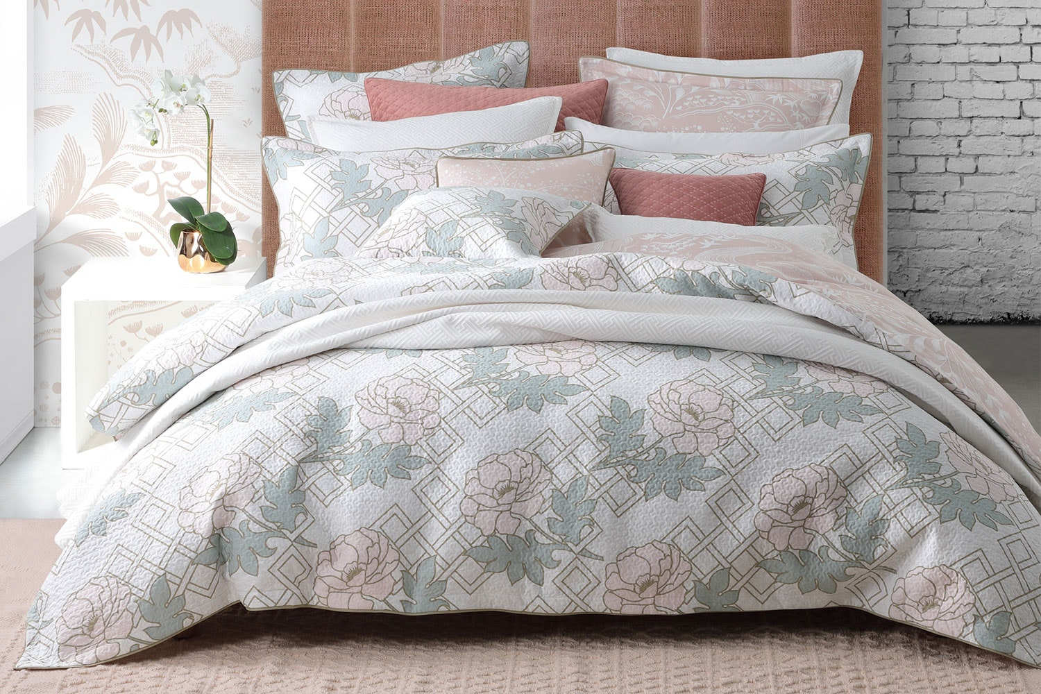 Floral Trellis Blush Duvet Cover Set by Florence Broadhurst