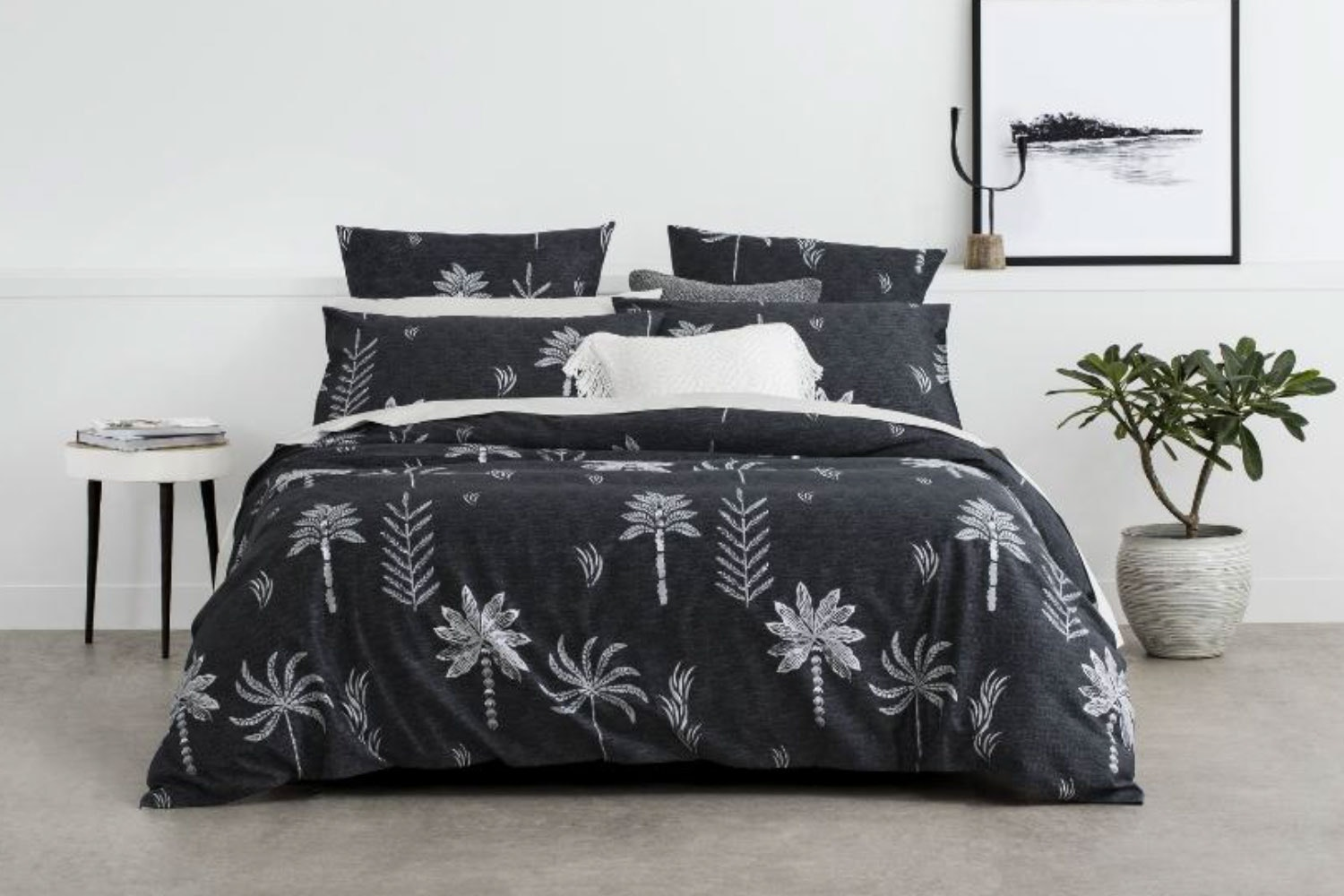 Night Palm Carbon Duvet Cover Set by Sheridan