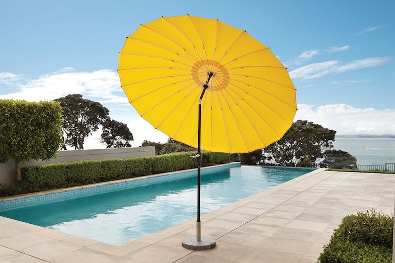 Oriental 2.7m Outdoor Umbrella with Base - Yellow - Peros