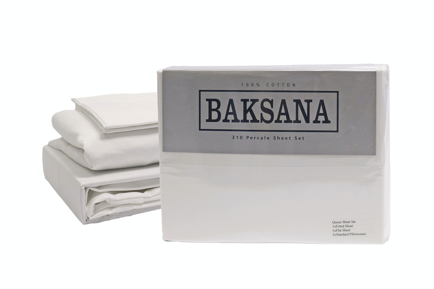 310TC 100% Cotton Percale Sheet Set by Baksana