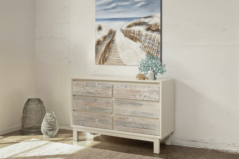 Coastal 6 Drawer Lowboy