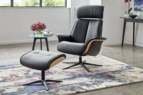 Space Leather Recliner Chair and Footstool - Trend - IMG