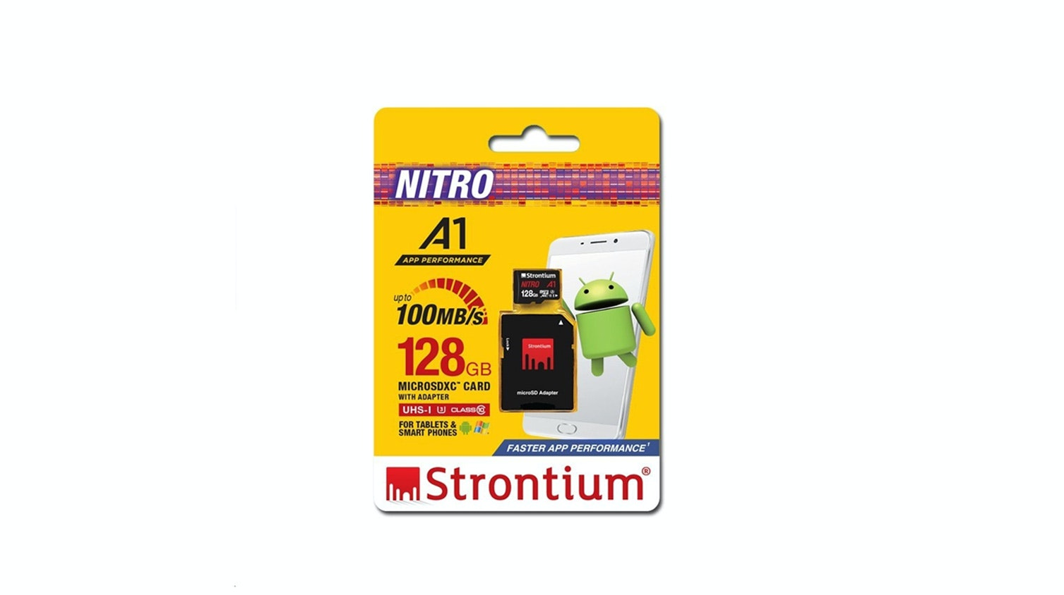Strontium Nitro A1 128GB Micro SD Card with Adapter Packaging