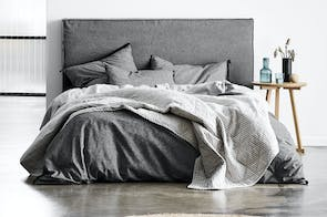 Chambray Fringe Smoke Duvet Cover Set by Aura