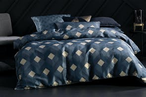 Everett Navy Duvet Cover Set by Savona