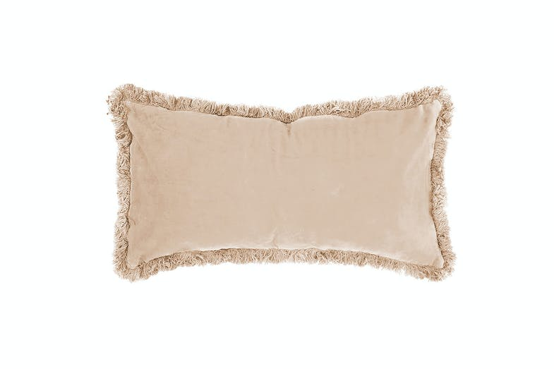 Velvet Breakfast Cushion by Bambury - Nude