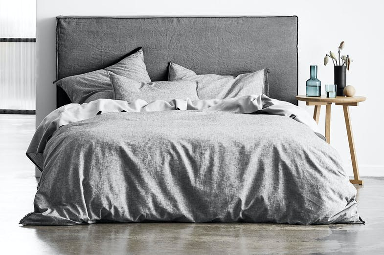 Chambray Fringe Dove Duvet Cover by Aura