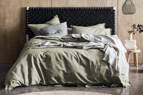 Chambray Fringe Olive Duvet Cover by Aura
