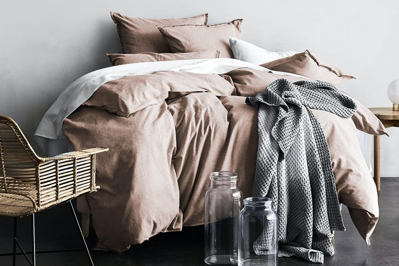 Chambray Fringe Pink Clay Duvet Cover by Aura