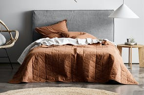 Chambray Vintage Stripe Cinnamon Duvet Cover by Aura