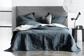 Chambray Vintage Stripe Slate Coverlet by Aura
