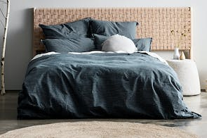 Chambray Vintage Stripe Slate Duvet Cover by Aura