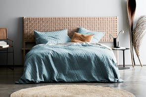 Quilted Chambray Eucalypt Duvet Cover by Aura