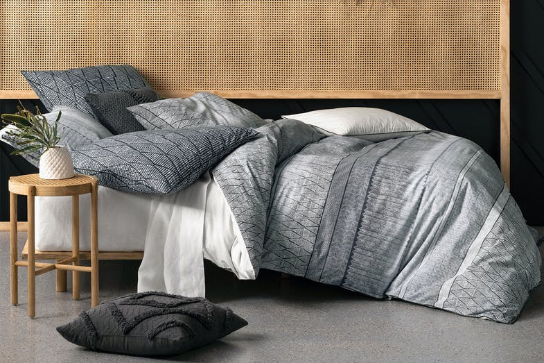 Vida Charcoal Duvet Cover Set by Savona