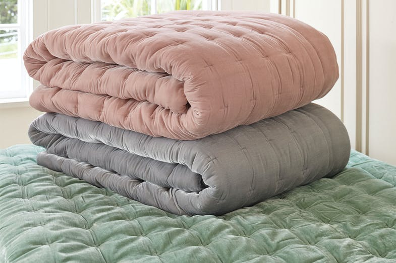 Dimple Velvet Accessory Range by Seneca - Comforter group shot