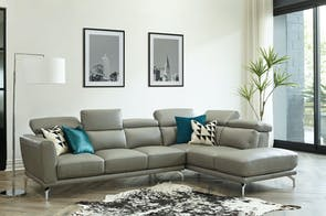 Livorno 4 Seater Leather Sofa with Chaise