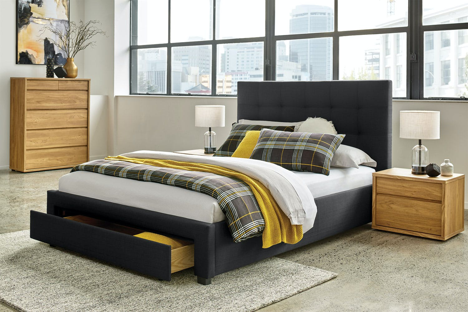 Hudson Queen Bed Frame With End Drawer By Nero Furniture Harvey