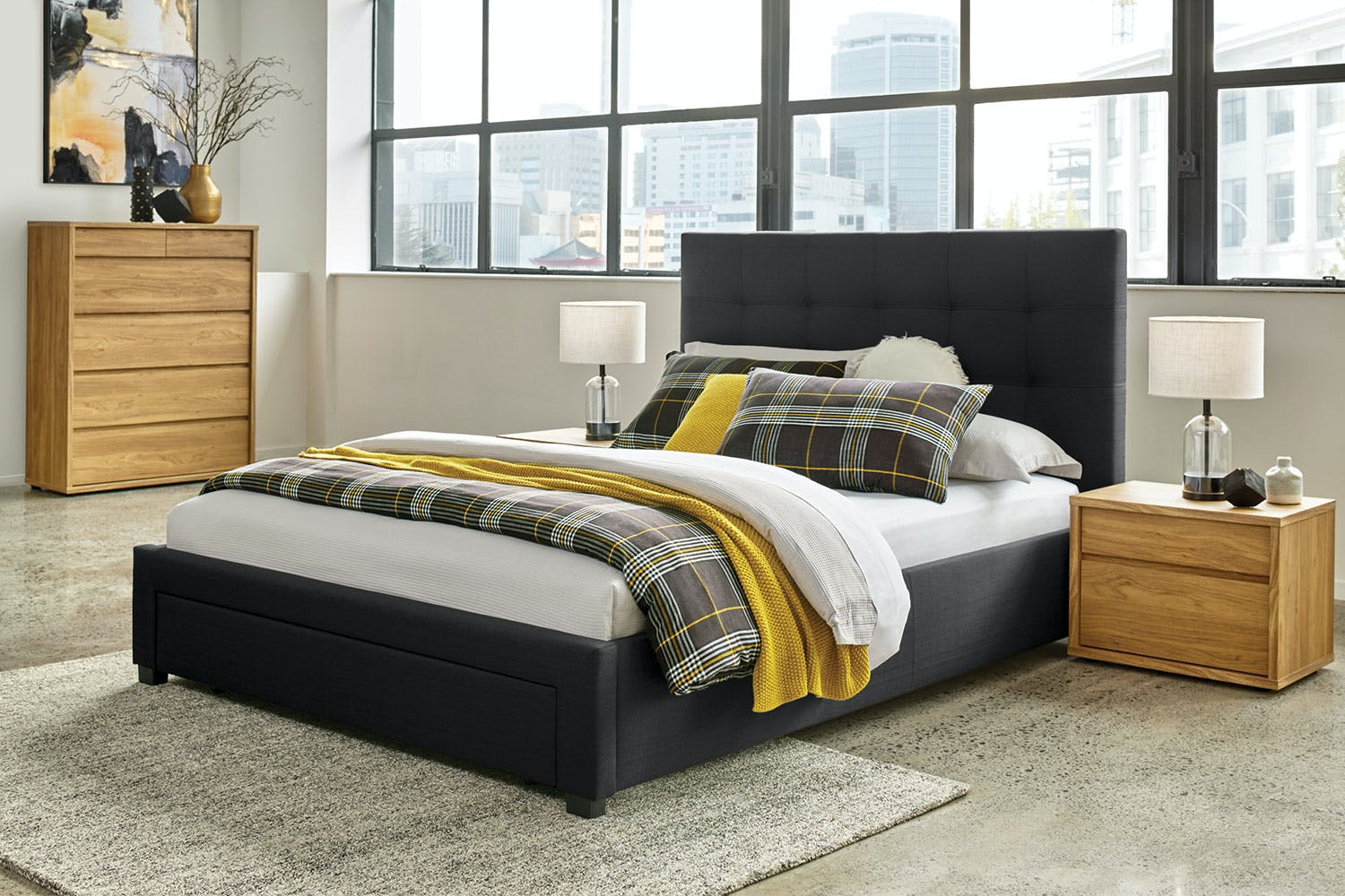 Hudson Queen Bed Frame with End Drawer by Nero Furniture