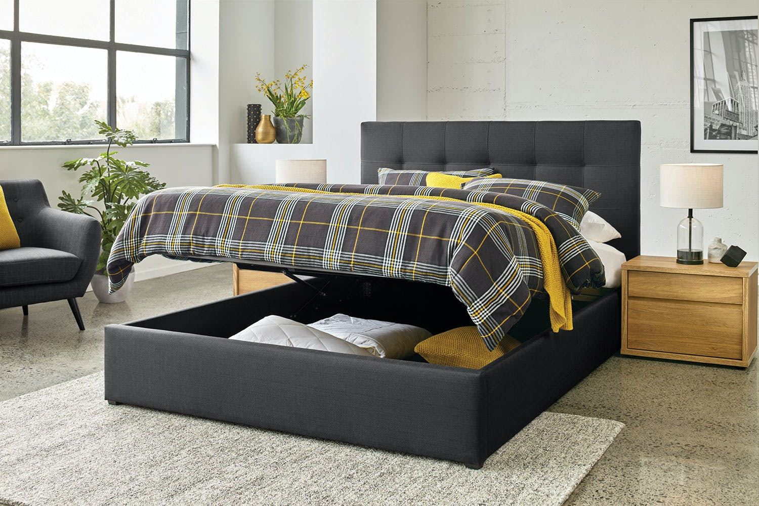 Fantastic Hudson Queen Bed Frame With Gas Lift Storage By Nero Furniture Gamerscity Chair Design For Home Gamerscityorg