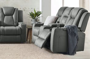 White Haven 2 Seater Fabric Electric Recliner Sofa