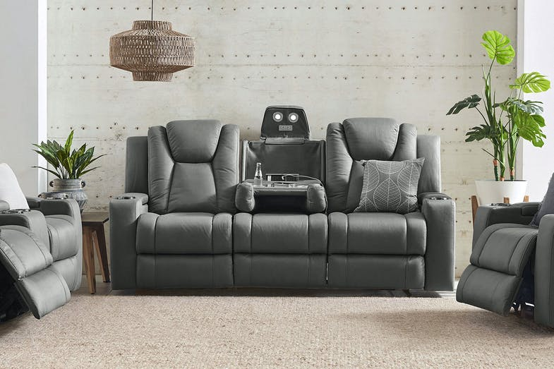 White Haven Fabric 3 Seater Electric Recliner Sofa