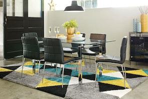 Calem 7 Piece Rectangular Dining Suite - Glass